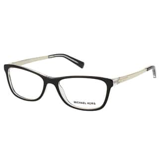 e87d76c4d52e Michael Kors Nevis Womens MK 4017 3033 Black On Crystal Rectangle Plastic  55mm Eyeglasses
