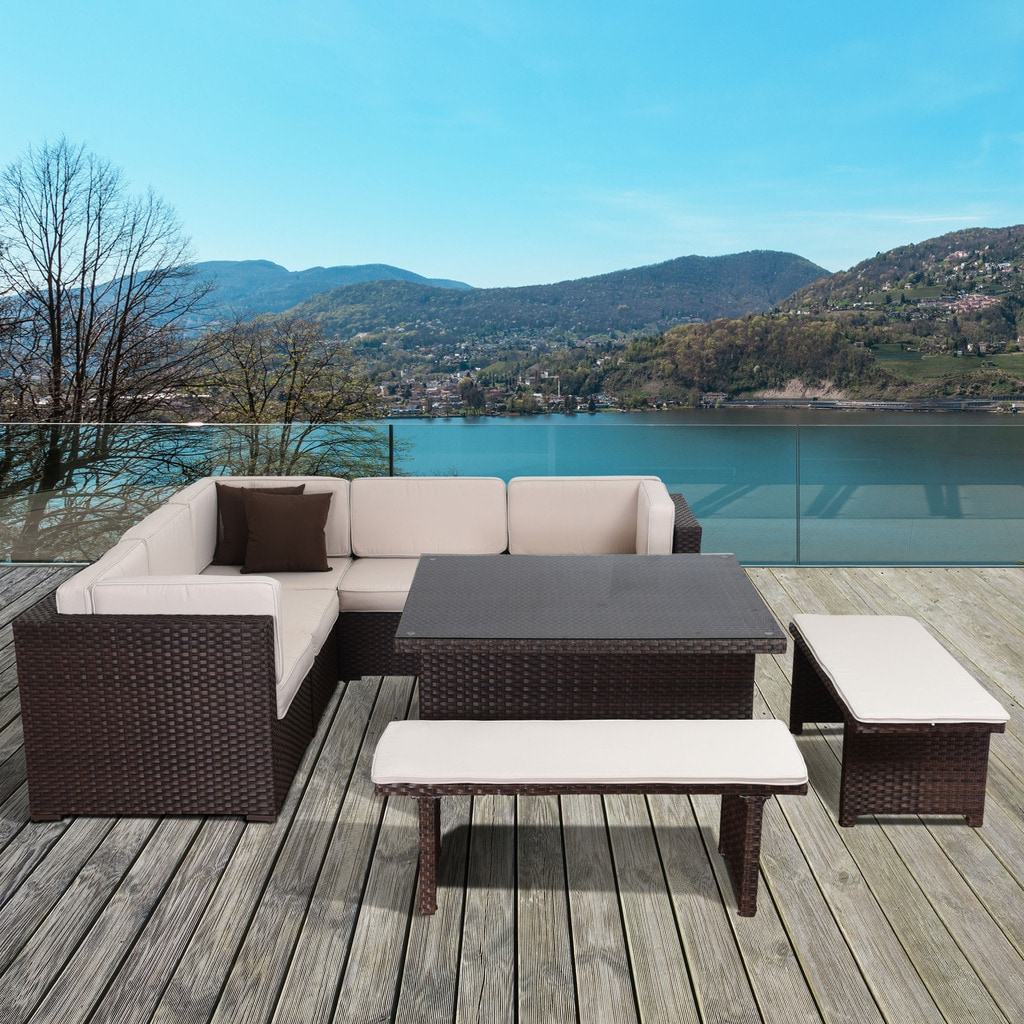 Atlantic Modena 9 Piece Brown Wicker Sectional Set (Brown...