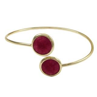 Luxiro Gold Finish Sterling Silver Semi-precious Gemstone Open Cuff Bangle Bracelet - Pink