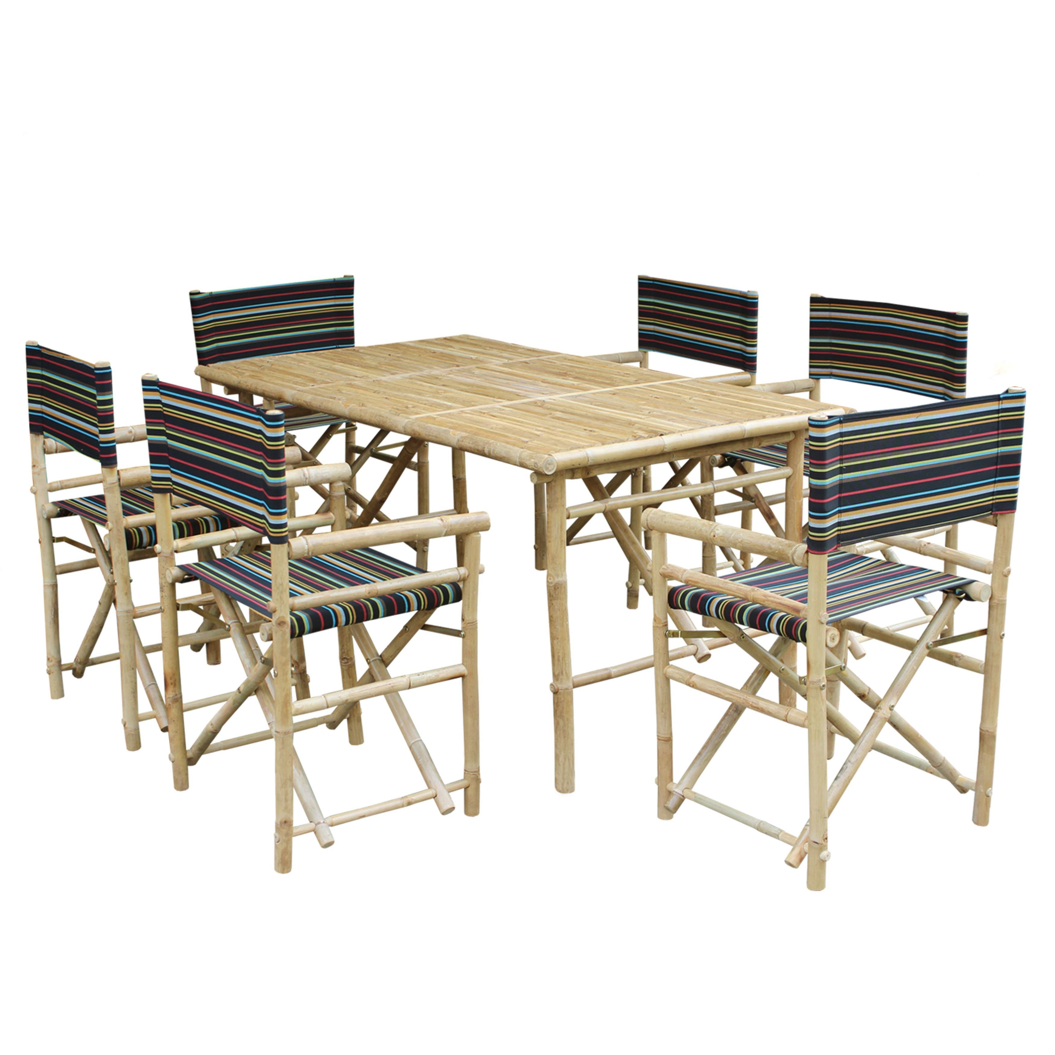 Shop Zew Bamboo Handcrafted 7 Piece Rectangular Patio Set   Free Shipping  Today   Overstock   11908164