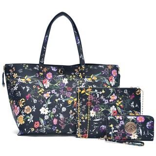 Dasein Floral Reversible Tote Bag & Floral Zip Around Emblem Wallet