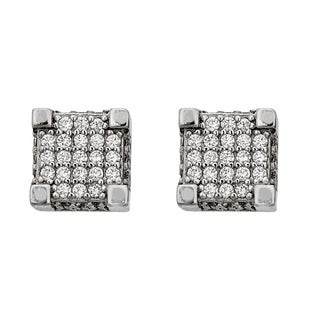 Decadence Sterling Silver Micropave Cube Stud Earrings
