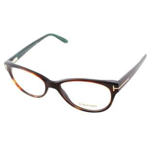Tom Ford Women's Tortoise Acetate, Plastic Slightly Round Eyeglasses
