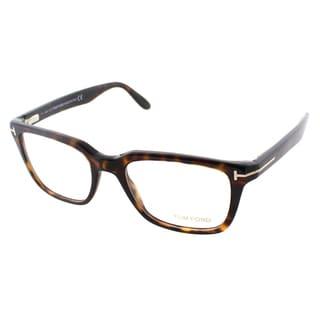 Tom Ford Men's Dark Havana Plastic Square Eyeglasses