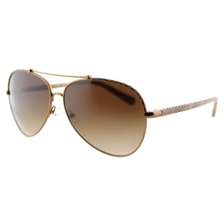 Tory Burch TY 6021 399/13 Brown Python Leather Metal Aviator Brown Gradient Lens Sunglasses