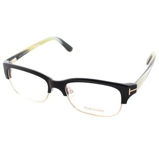 Tom Ford Men's Black and Gold Plastic Square Eyeglasses