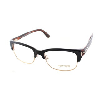 Tom Ford Men's Black and Gold Plastic Square Eyeglasses