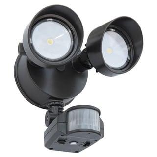 Lithonia Lighting OLF 2RH 40K 120 MO BZ M6 Bronze Outdoor 2-Head 4000K LED Black Bronze Floodlight with Motion Sensor