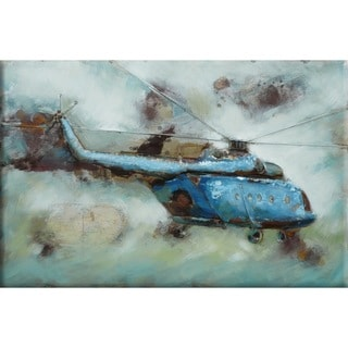 Benjamin Parker 'Helicopter' 32 x 48-inch Raised Metal Wall Art