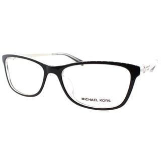 Michael Kors Nevis Womens MK 4017F 3033 Black On Crystal Rectangle Plastic 55mm Eyeglasses