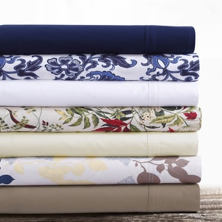 Tribeca Living Cotton Percale Solid and Printed Extra Deep Pocket Sheet Set with Oversize Flat