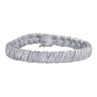 Divina Silver over Brass 1/5ct TDW Diamond Fashion Bracelet (I-J, I2-I3)