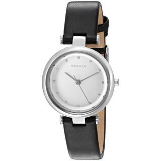 Skagen Women's SKW2467 'Tanja' Crystal Black Leather Watch