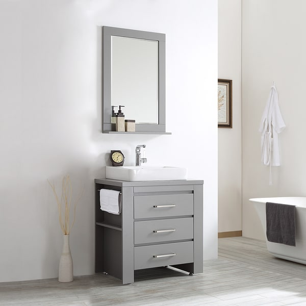Pascara 30 Quot Single Vanity In Grey With White Drop In