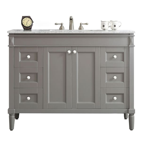 Shop Catania Grey With Carrara White Marble Top 48 Inch Single Vanity Without Mirror Free