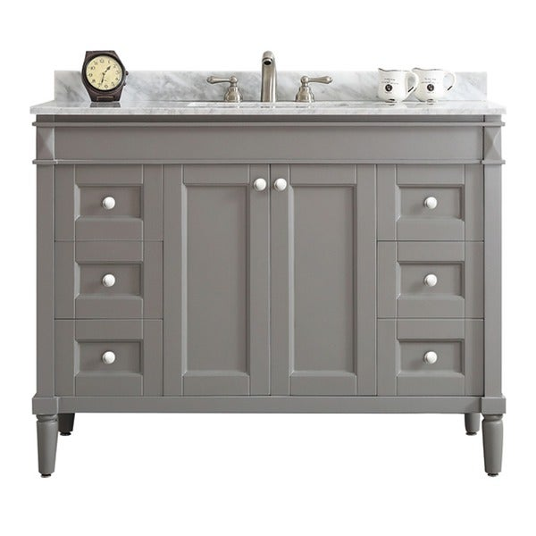 Catania grey with carrara white marble top 48 inch single vanity without mirror free shipping for Gray bathroom vanity with top