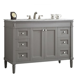 Catania Grey With Carrara White Marble Top 48-inch Single Vanity Without Mirror