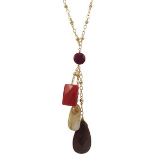 Luxiro Gold Finish Coral and Jasper Semi-precious Gemstone Tassel Necklace