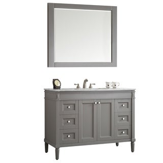 "Catania 48"" Single Vanity in Grey with Carrara White Marble Top with Mirror"
