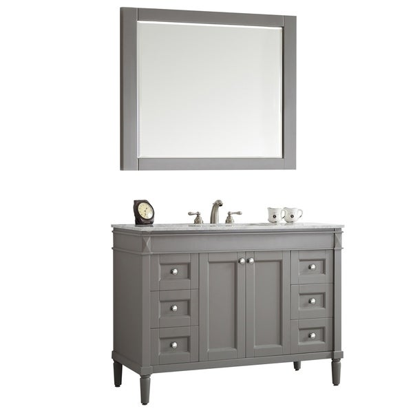 """Catania 48"""" Single Vanity in Grey with Carrara White Marble Top with Mirror"""