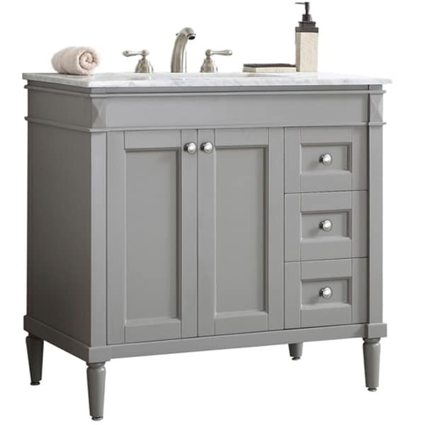 Catania Grey/ White Carrara Marble Top Single Vanity. Opens flyout.