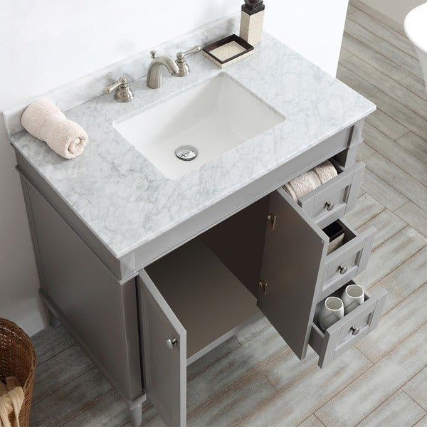 Catania Grey/White Carrara Marble Top 36 Inch Single Vanity   Free Shipping  Today   Overstock.com   18800831