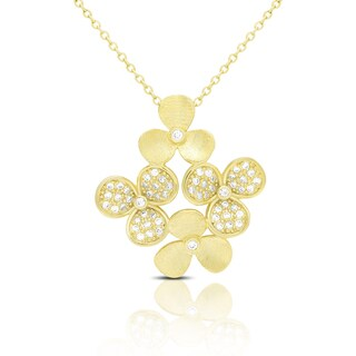 Samantha Stone Gold Over Silver Cubic Zirconia Flower Necklace