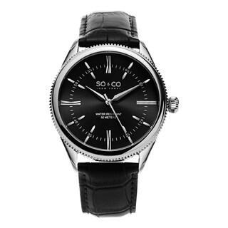 SO&CO New York Men's Madison Black Stainless Steel/Leather Quartz Watch