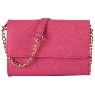 Diophy Saffiano Multi-spaced Mini-flap Crossbody Messenger Wallet