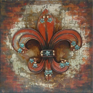 Benjamin Parker 'Fleur' 24-inch Raised Metal Wall Art