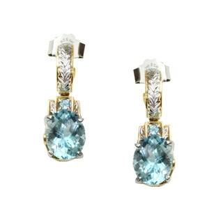 Michael Valitutti Sky Blue Topaz CheckTop Earrings