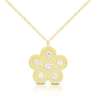 Samantha Stone Gold Over Silver Hammered Cubic Zirconia Flower Necklace