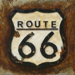 Benjamin Parker 'Route 66' 24-inch Raised Metal Wall Art