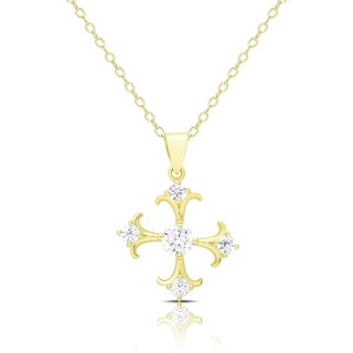Dolce Giavonna Gold Over Silver Cubic Zirconia Maltese Cross Necklace