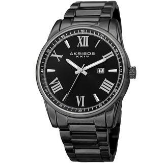Akribos XXIV Men's Quartz Date Stainless Steel Black Bracelet Watch