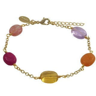 Luxiro Gold Finish Fuchsia Jade Semi-precious Gemstone Link Bracelet