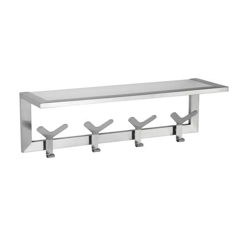Cortesi Home Milton Stainless Steel Brushed Nickel Glass Shelf Towel Rack with Hooks - Silver