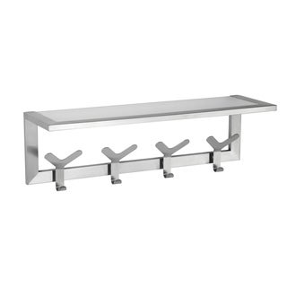 Cortesi Home Milton Stainless Steel Brushed Nickel Glass Shelf Towel Rack with Hooks