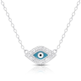 Dolce Giavonna Sterling Silver Cubic Zirconia Evil Eye Necklace