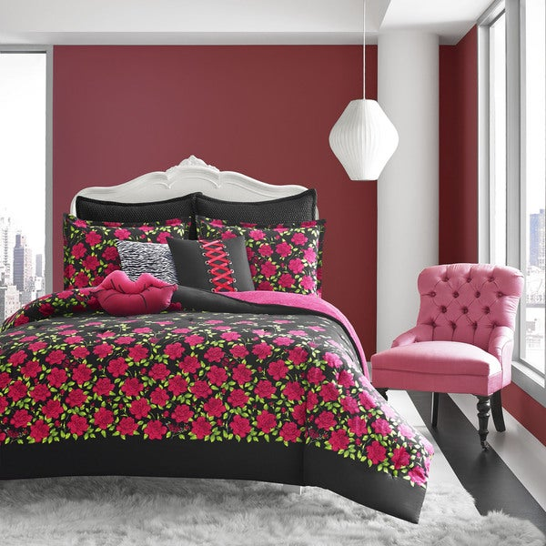 betsey johnson rose garden cotton 3-piece comforter set - free