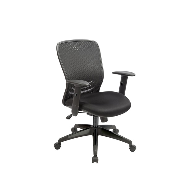 Tetra Black Fabric and Metal Mesh Adjustable Swivel Office Chair