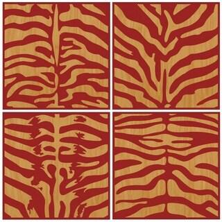 Benjamin Parker 'Red Zebra' 4-Piece Set Wood Relief Wall Art