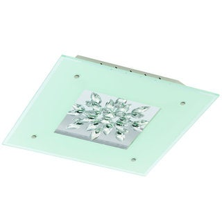 Eglo Benalua White Glass 1-light 23.5-watt LED Ceiling Light With Clear Trim and Crystals