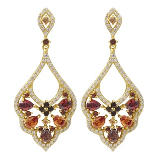 Luxiro Gold Finish Sterling Silver Red and Champagne Cubic Zirconia Baroque Earrings