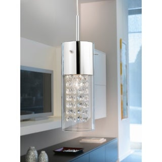 Eglo Diamond 1x60W Mini Pendant w/Chrome Finish & Clear Glass w/Crystal Strands