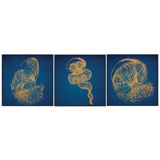 Benjamin Parker 'Jellyfish WR' Triptych Wood Relief Wall Art