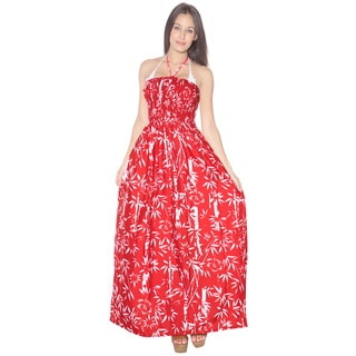 La Leela Soft Likre Halter Vintage Women Casual Long Tube Beach Dress Maxi Red