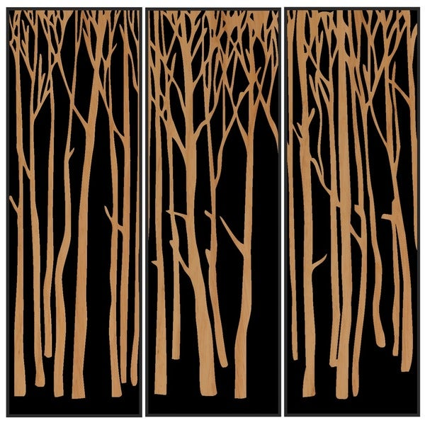Shop Benjamin Parker \'Trees I\' Triptych Wood Relief Wall Art - Free ...