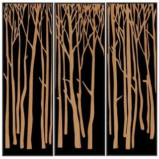 Benjamin Parker 'Trees I' Triptych Wood Relief Wall Art