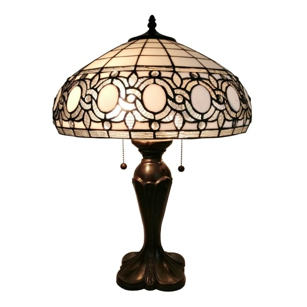 Amora Lighting AM235TL16 White Art Glass 24-inch Tiffany Style Floral Table Lamp